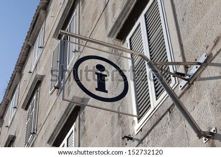 Picture of real tourist information sign on the building wall outdoors - stock photo