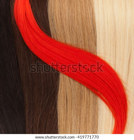 Picture of remy hair in different colors - stock photo