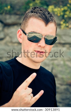 Picture of rocker man - stock photo
