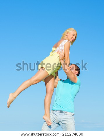 Picture of romantic young couple dancing. - stock photo
