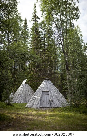Picture of Sami buildings in Sapmi, Swedish Lapland