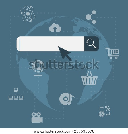 picture of search tool with icons and world map on background - stock photo