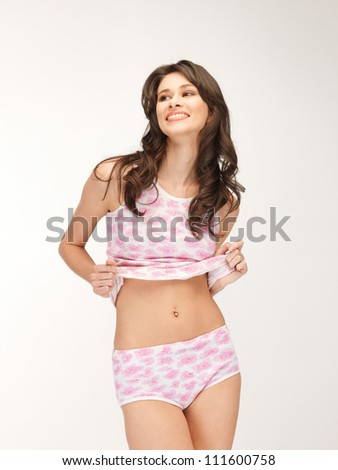 picture of seductive woman in shirt and panties