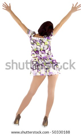 picture of sexy backside brunette over white background