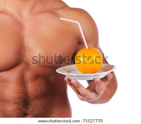 Picture of sexy body and fruit - stock photo