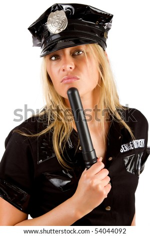 Picture of sexy policewoman with stick