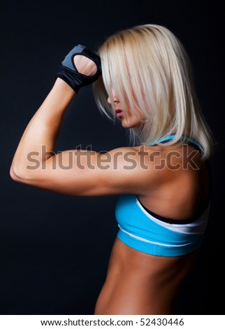 Picture of sexy tired woman after training