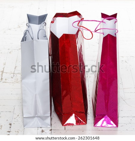 Picture of shopping bags over white background