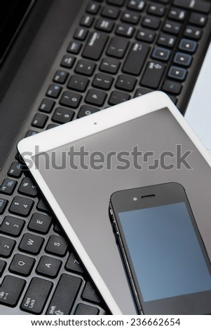 Picture of smartphone, tablet and laptop - stock photo