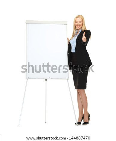 picture of smiling businesswoman with white blank flipchart