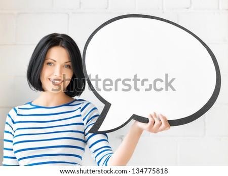 picture of smiling student with blank text bubble - stock photo