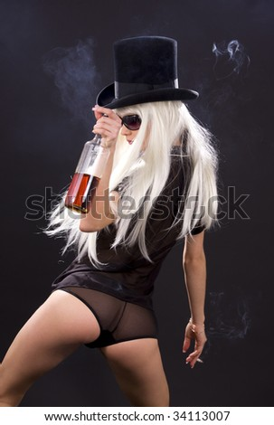 picture of smoking girl with bottle of whiskey