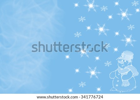 Picture of snowman and lights on blurred blue background. Vertical digital wintertime festive background. - stock photo