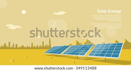 picture of solar batteries in a desert with mountains and big city silhouette on background, flat style concept of renewable solar energy - stock photo