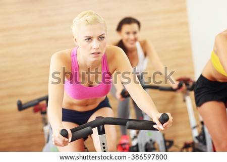 Picture of sporty group of women on spinning class