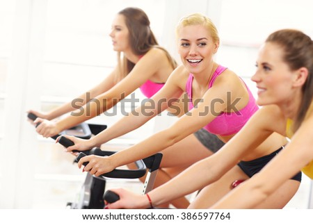 Picture of sporty women group on spinning class - stock photo