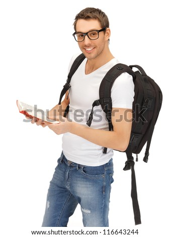 picture of student with backpack and book in specs - stock photo