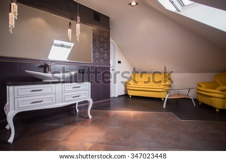 Picture of stylish contemporary bathroom lounge neat furnished