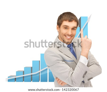 picture of successful businessman with big 3d chart