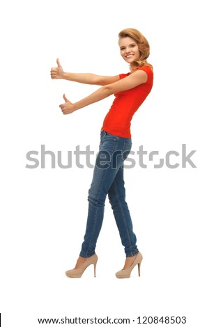 picture of teenage girl in red t-shirt showing thumbs up