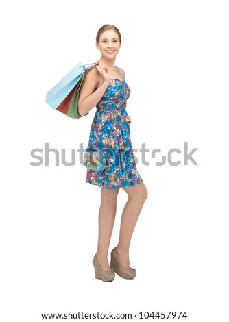 picture of teenage girl with shopping bags