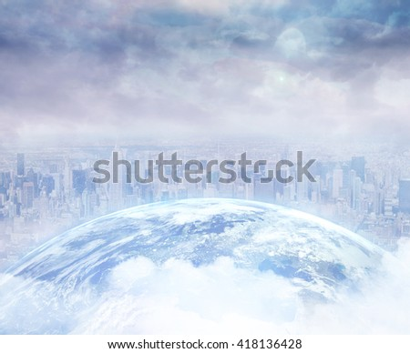 Picture of the earth in front of a city - stock photo