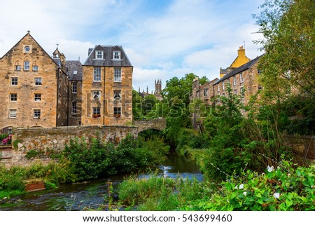 picture of the famous and picturesque Dean Village in Edinburgh, Scotland