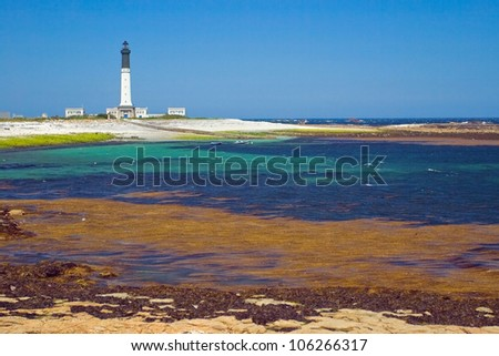 Picture of the grand lighthouse of island Sein, Bretagne.