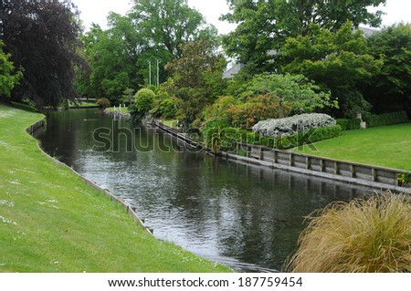 Picture of the view of Avon River at Christchurch, New Zealand.