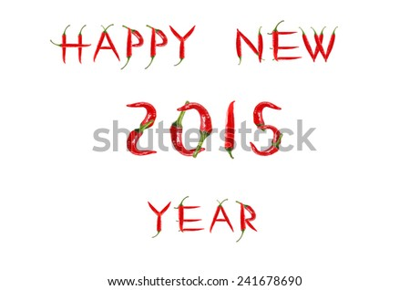 Picture of the words HAPPY NEW YEAR written with red chili peppers - stock photo