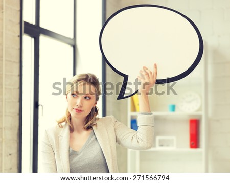 picture of thinking businesswoman with blank text bubble