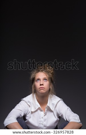 Picture of tired young woman without work life balance - stock photo