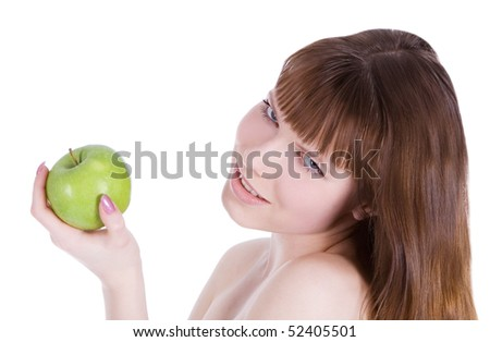 picture of topless woman with green apple - stock photo