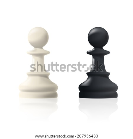 picture of two chess pawns, black and white, figures are isolated on white background - stock photo