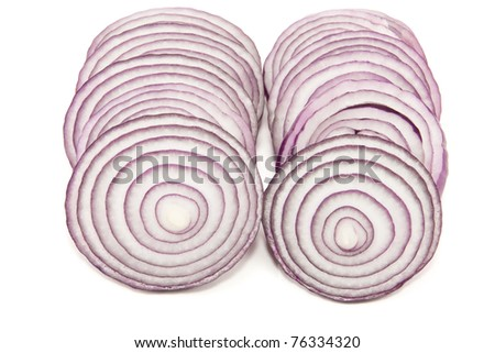 Picture of two sliced onion lines