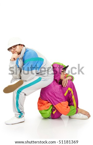 Picture of two thoughtful man in stylish clothes - stock photo