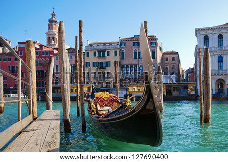 picture of Venice in Italy with a gondola on the Grand Canal - stock photo