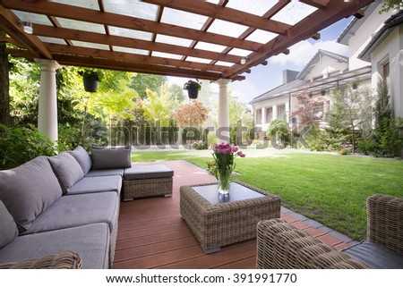 Picture of verandah with modern garden furniture - stock photo