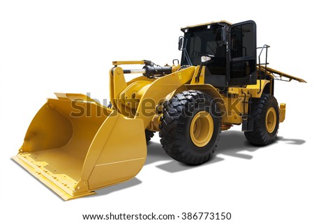 Picture of wheel loader with a steel scoop, isolated on white background - stock photo