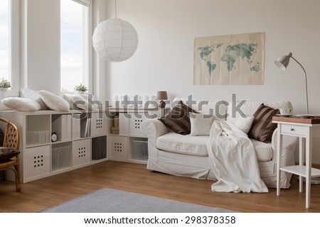 Picture of white modern sitting room interior