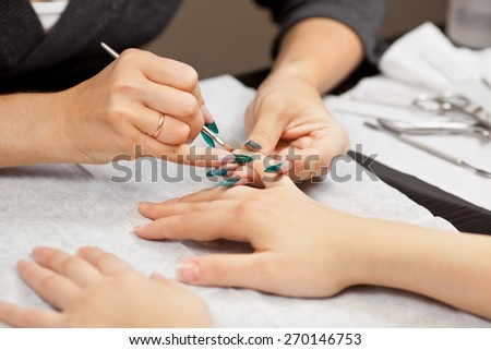 Picture of woman at manicure procedure