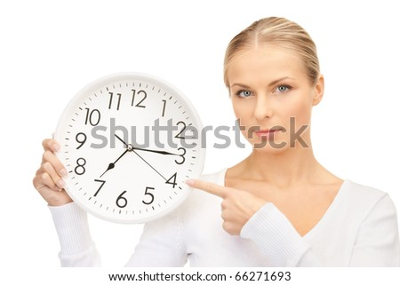 picture of woman holding big clock over white