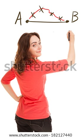 Picture of woman planning strategy isolated on white - stock photo