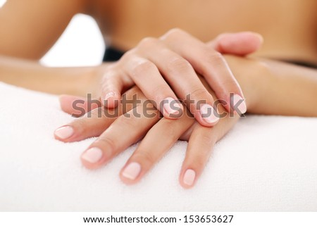 Picture of woman's beautiful hands with manicure