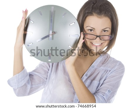 picture of woman with big clock - stock photo