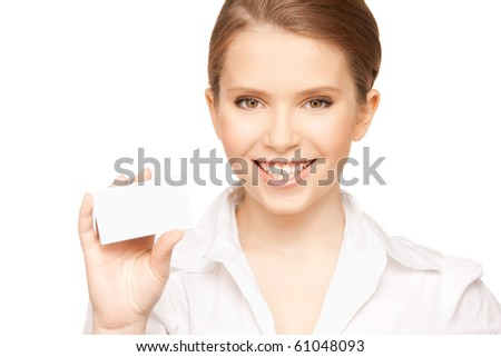 picture of woman with business card over white