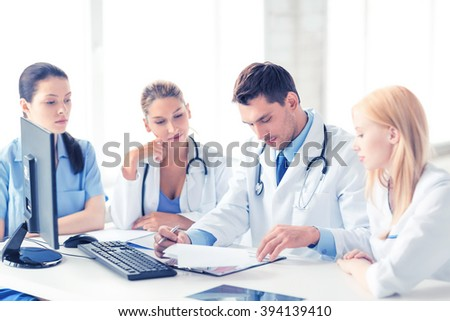 picture of young team or group of doctors working