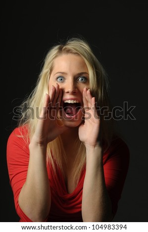 Picture of young woman screaming