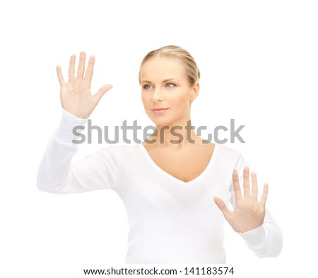 picture of young woman working with virtual screen - stock photo