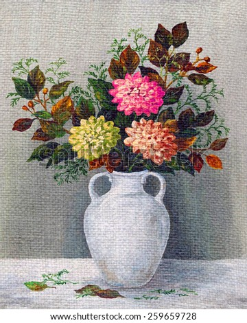 Picture Oil Painting on a Canvas, a Bouquet of Dahlias in a White Jug - stock photo